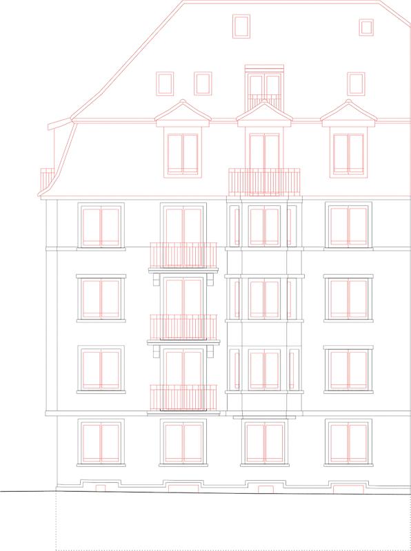 Nimbus Architekten Michael Bühler Lukas Schaffhuser Mehrfamilienhaus Zuerich Fassade Süd West