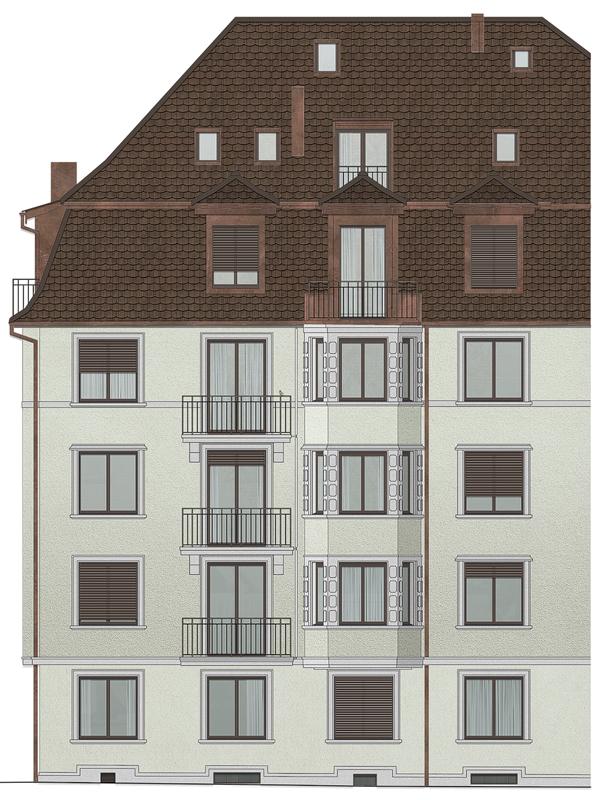 Nimbus Architekten Michael Bühler Lukas Schaffhuser Mehrfamilienhaus Zuerich Ansicht