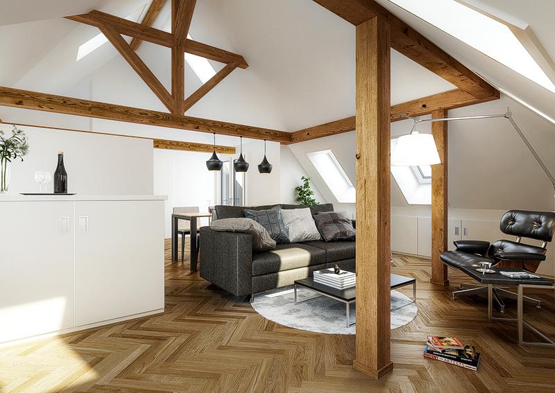 Nimbus Architekten Michael Bühler Lukas Schaffhuser Mehrfamilienhaus Zürich Visualisierung Wohnung Dachgeschoss