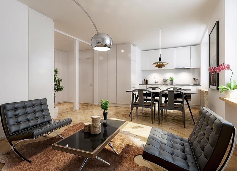 Nimbus Architekten Michael Bühler Lukas Schaffhuser Mehrfamilienhaus Zürich Visualisierung Wohnung Regelgeschoss