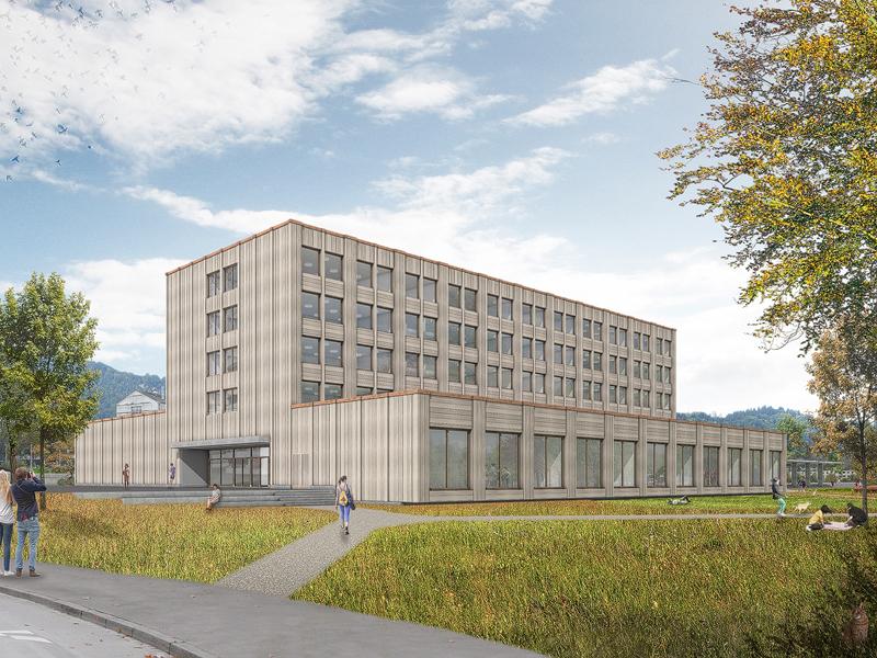 Nimbus Architekten Michael Bühler Lukas Schaffhuser Schulhaus Freilager Aussenperspektive