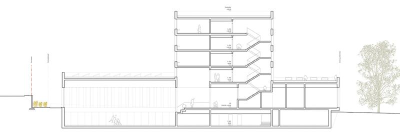 Nimbus Architekten Michael Bühler Lukas Schaffhuser Schulhaus Freilager Schnitt A