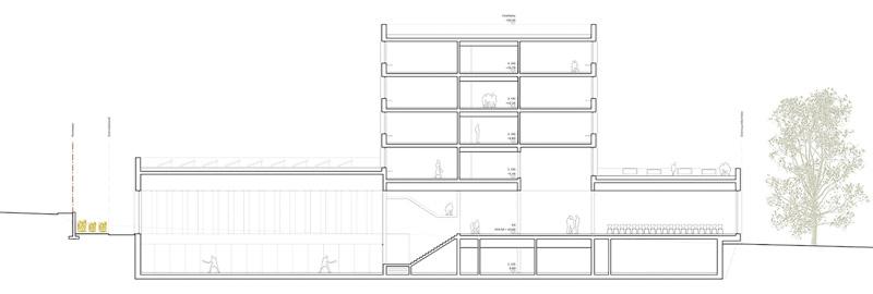 Nimbus Architekten Michael Bühler Lukas Schaffhuser Schulhaus Freilager Schnitt B