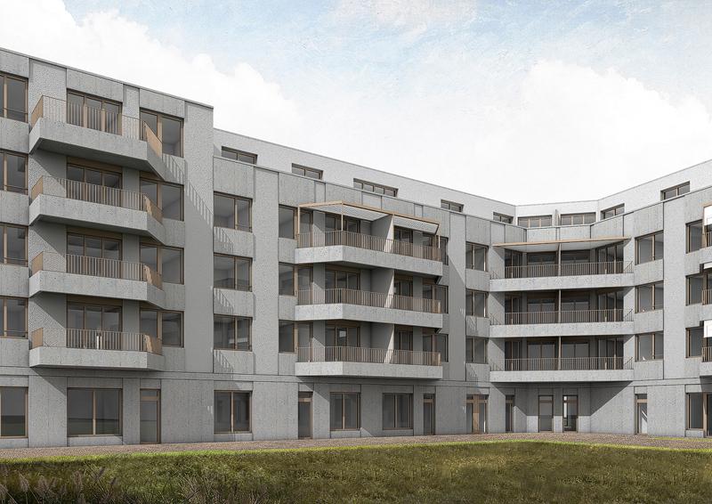 Nimbus Architekten Michael Bühler Lukas Schaffhuser Wohnsiedlung Herdernstrasse Hofperspektive