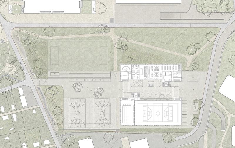Nimbus Architekten Michael Bühler Lukas Schaffhuser Schulhaus Freilager Erdgeschoss mit Perimeter