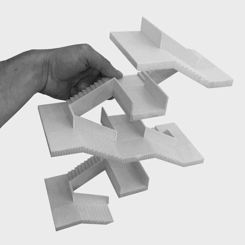 Nimbus Architekten Michael Bühler Lukas Schaffhuser Schulanlage Walka mit Auditorium Zermatt Modell Bild Treppe