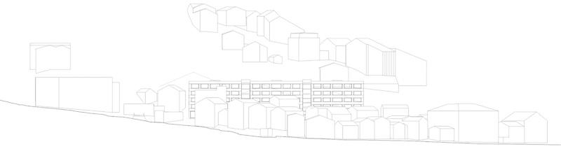 Nimbus Architekten Michael Bühler Lukas Schaffhuser Schulanlage Walka mit Auditorium Zermatt Ansicht Dorf