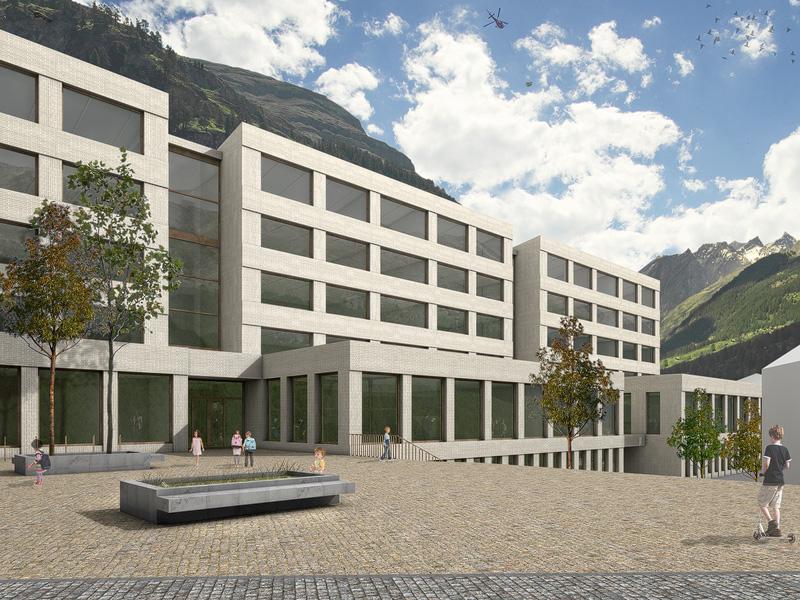Nimbus Architekten Michael Bühler Lukas Schaffhuser Schulanlage Walka mit Auditorium Zermatt Aussenperspektive