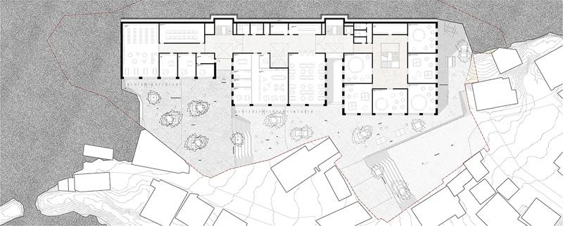 Nimbus Architekten Michael Bühler Lukas Schaffhuser Schulanlage Walka mit Auditorium Zermatt Erdgeschoss