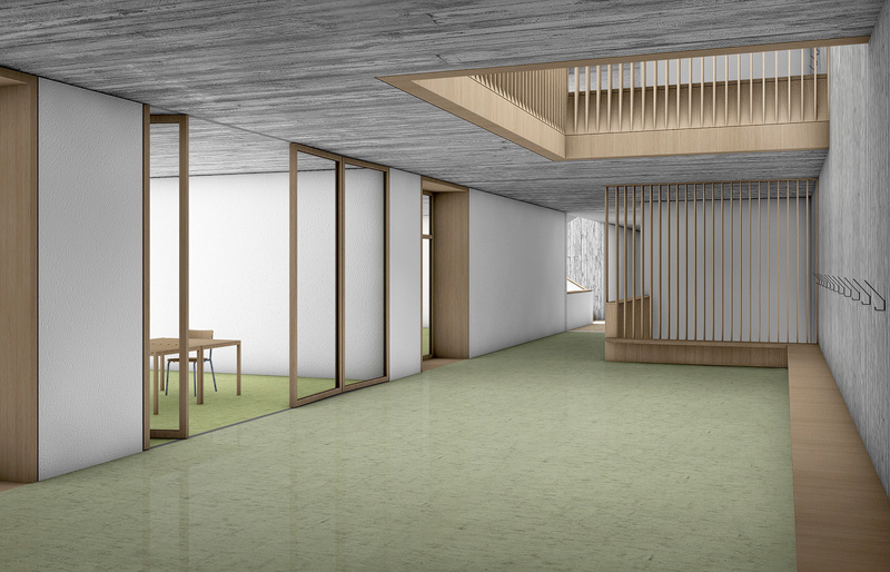 Nimbus Architekten Michael Bühler Lukas Schaffhuser Schulanlage Walka mit Auditorium Zermatt Innenperspektive Obergeschoss 3