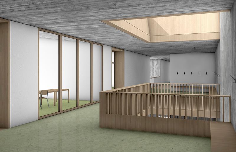 Nimbus Architekten Michael Bühler Lukas Schaffhuser Schulanlage Walka mit Auditorium Zermatt Innenperspektive Obergeschoss 4