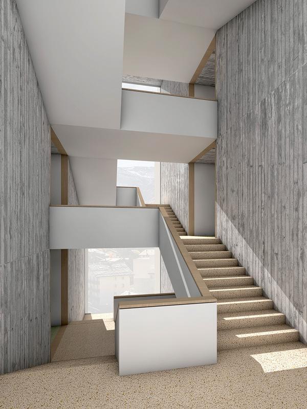 Nimbus Architekten Michael Bühler Lukas Schaffhuser Schulanlage Walka mit Auditorium Zermatt Innenperspektive Treppe 1