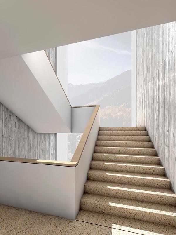Nimbus Architekten Michael Bühler Lukas Schaffhuser Schulanlage Walka mit Auditorium Zermatt Innenperspektive Treppe 2