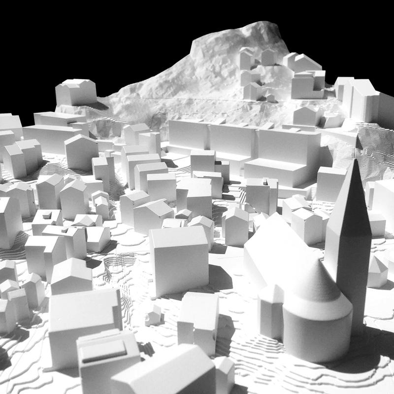 Nimbus Architekten Michael Bühler Lukas Schaffhuser Schulanlage Walka mit Auditorium Zermatt Modell 4