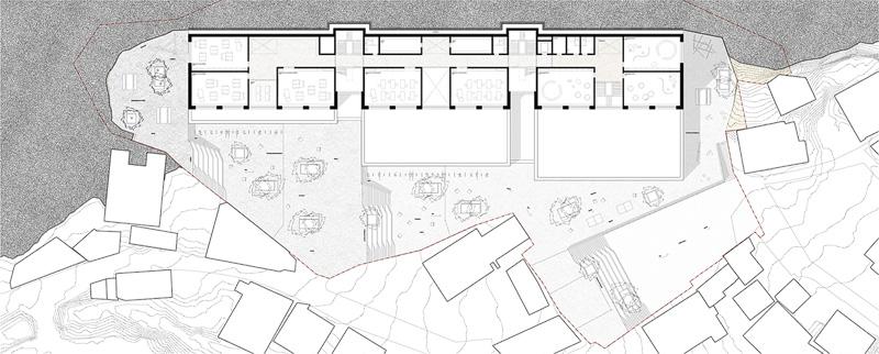 Nimbus Architekten Michael Bühler Lukas Schaffhuser Schulanlage Walka mit Auditorium Zermatt Obergeschoss 1