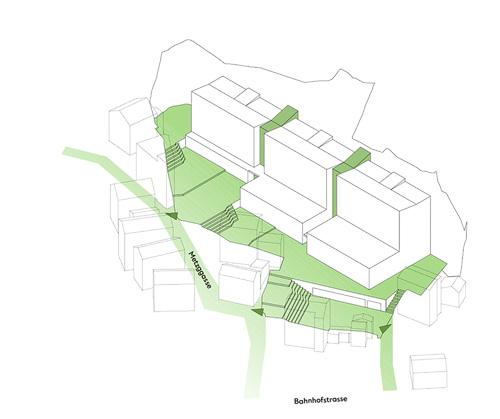 Nimbus Architekten Michael Bühler Lukas Schaffhuser Schulanlage Walka mit Auditorium Zermatt Picto Erschliessung