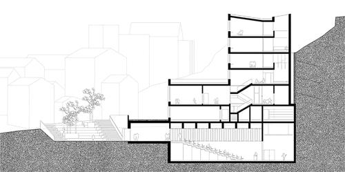 Nimbus Architekten Michael Bühler Lukas Schaffhuser Schulanlage Walka mit Auditorium Zermatt Schnitt A