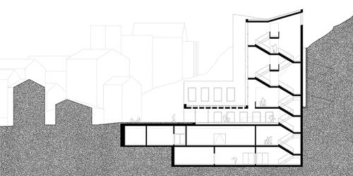 Nimbus Architekten Michael Bühler Lukas Schaffhuser Schulanlage Walka mit Auditorium Zermatt Schnitt B