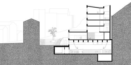Nimbus Architekten Michael Bühler Lukas Schaffhuser Schulanlage Walka mit Auditorium Zermatt Schnitt C