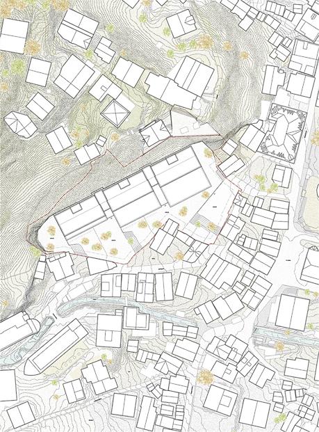 Nimbus Architekten Michael Bühler Lukas Schaffhuser Schulanlage Walka mit Auditorium Zermatt Situation