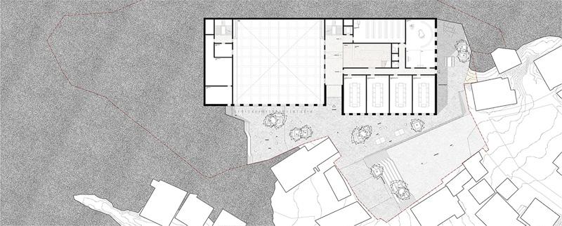 Nimbus Architekten Michael Bühler Lukas Schaffhuser Schulanlage Walka mit Auditorium Zermatt Untergeschoss 1