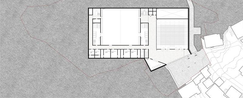 Nimbus Architekten Michael Bühler Lukas Schaffhuser Schulanlage Walka mit Auditorium Zermatt Untergeschoss 2