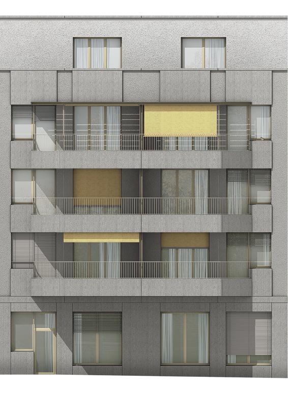 Nimbus Architekten Michael Bühler Lukas Schaffhuser Wohnsiedlung Herdernstrasse Fassadenansicht Hof