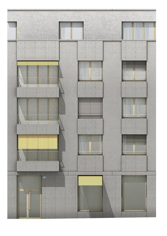 Nimbus Architekten Michael Bühler Lukas Schaffhuser Wohnsiedlung Herdernstrasse Fassadenansicht Strasse
