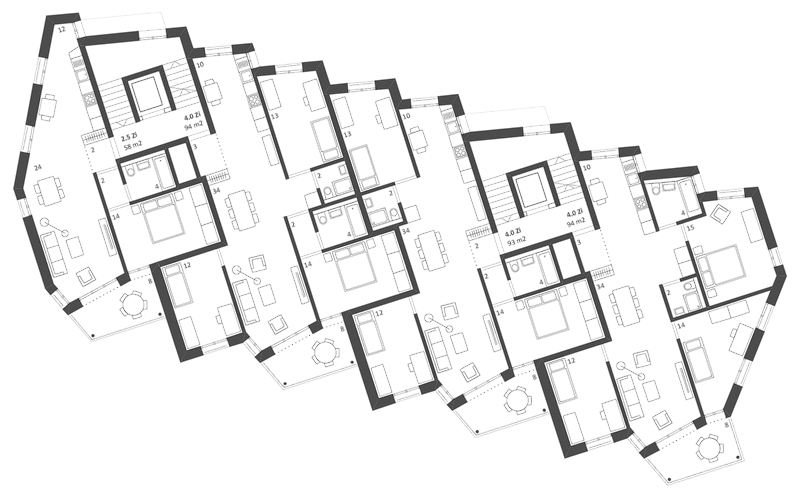 Nimbus Architekten Michael Bühler Lukas Schaffhuser Ersatzneubau Rotbuchstrasse Zuerich Regelgeschoss