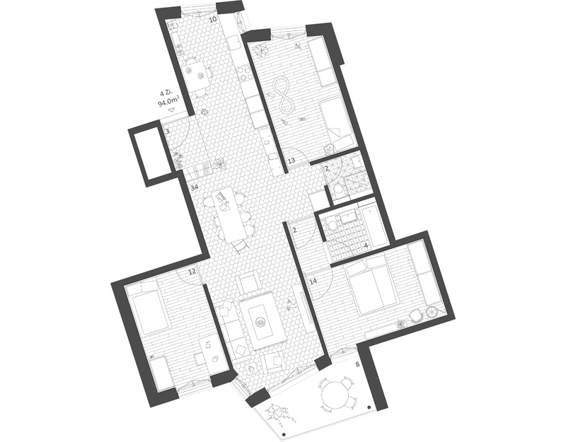 Nimbus Architekten Michael Bühler Lukas Schaffhuser Ersatzneubau Rotbuchstrasse Zuerich Wohnung 4-0