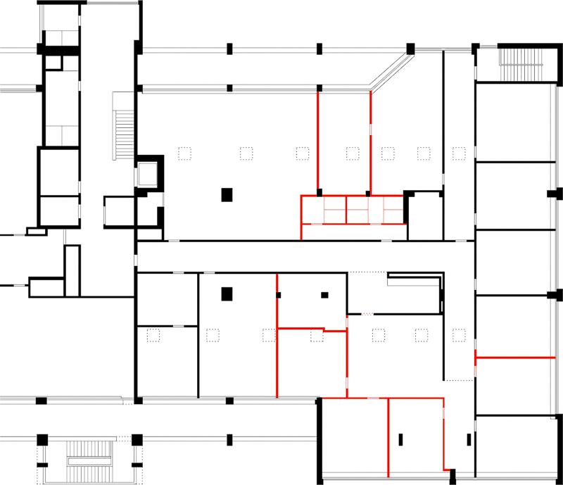 Nimbus Architekten Michael Bühler Lukas Schaffhuser Schulraumprovisorium Albisriederstrasse Zürich Grundriss Neu