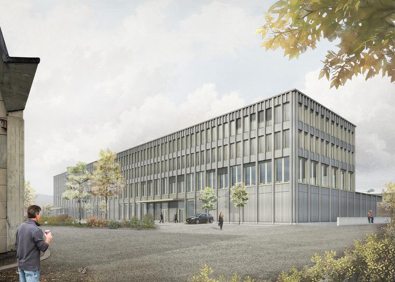 Nimbus Architekten Michael Bühler Lukas Schaffhuser Gewerbegebaeude Nord-Regensdorf Aussenperspektive