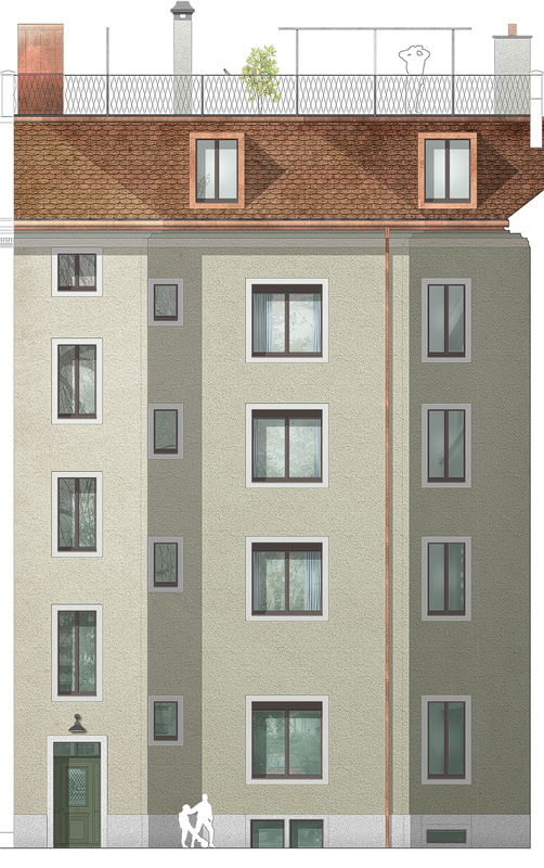 Nimbus Architekten Michael Bühler Lukas Schaffhuser Mehrfamilienhaus Badenerstrasse Ansicht Hof