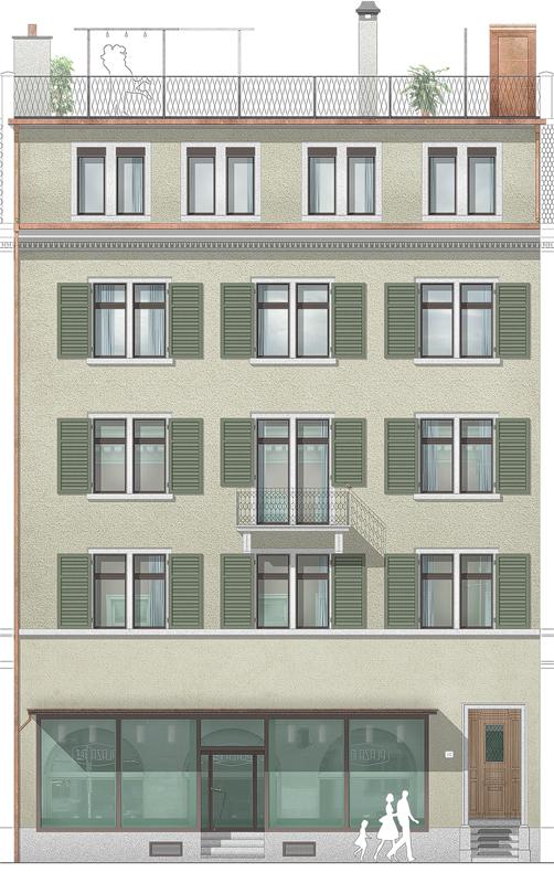 Nimbus Architekten Michael Bühler Lukas Schaffhuser Mehrfamilienhaus Badenerstrasse Ansicht Strasse