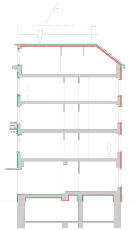 Nimbus Architekten Michael Bühler Lukas Schaffhuser Mehrfamilienhaus Badenerstrasse Querschnitt