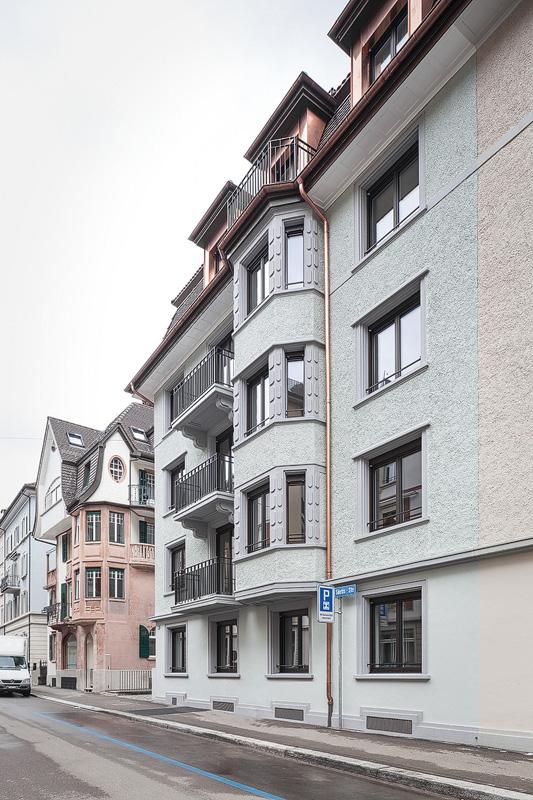 Nimbus Architekten Michael Bühler Lukas Schaffhuser Mehrfamilienhaus Zuerich Ansicht Sued