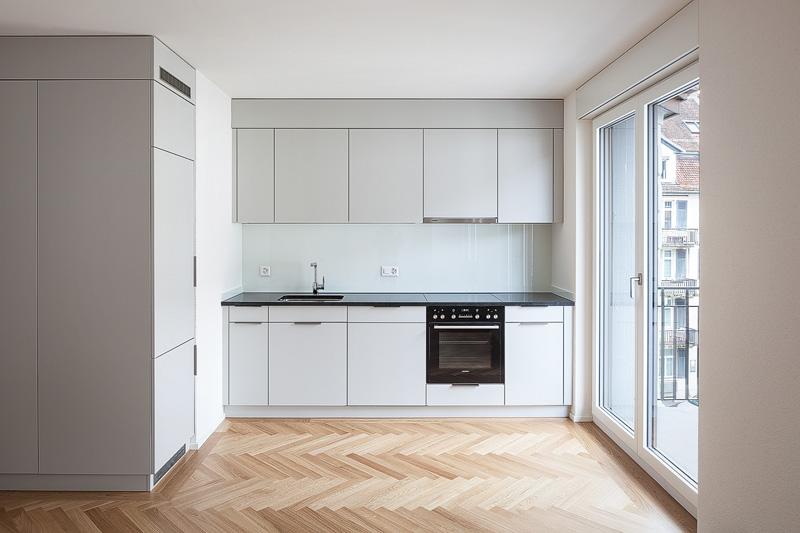 Nimbus Architekten Michael Bühler Lukas Schaffhuser Mehrfamilienhaus Zuerich Kueche