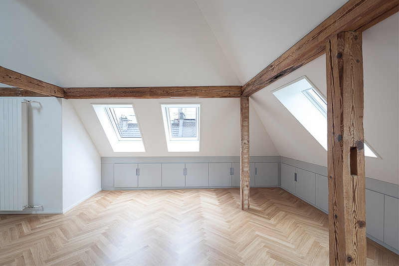 Nimbus Architekten Michael Bühler Lukas Schaffhuser Mehrfamilienhaus Zuerich Dachgeschoss