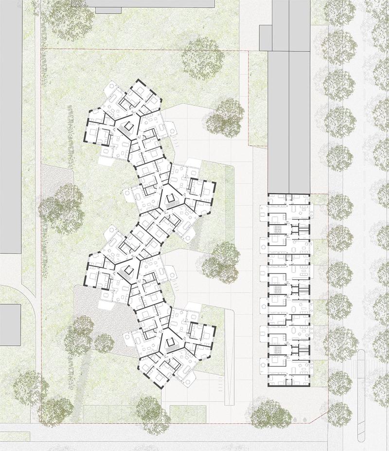 Nimbus Architekten Michael Bühler Lukas Schaffhuser Wohnsiedlung Hardau I Zuerich Regelgeschoss 2