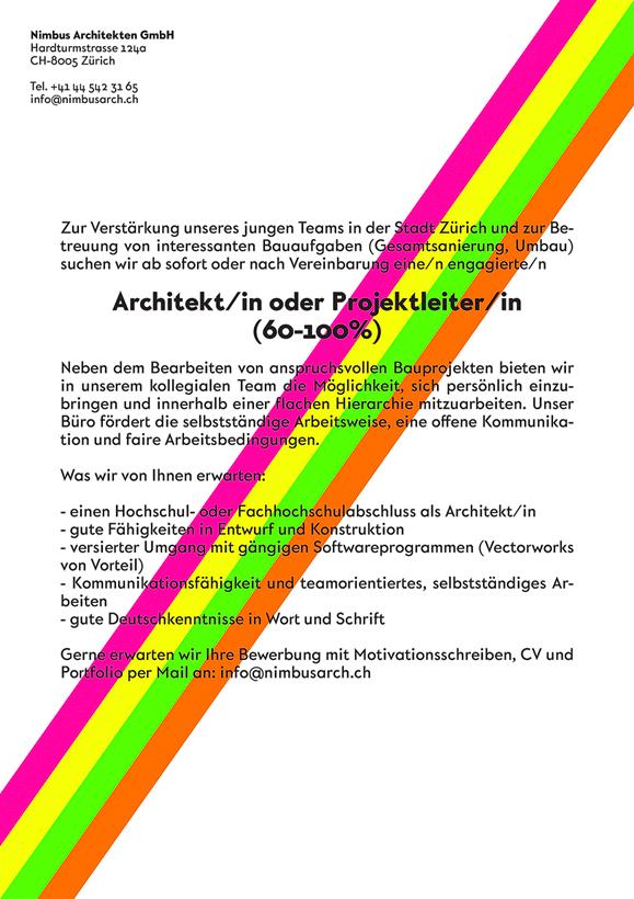 Nimbus Architekten Michael Bühler Lukas Schaffhuser Zürich Jobinserat