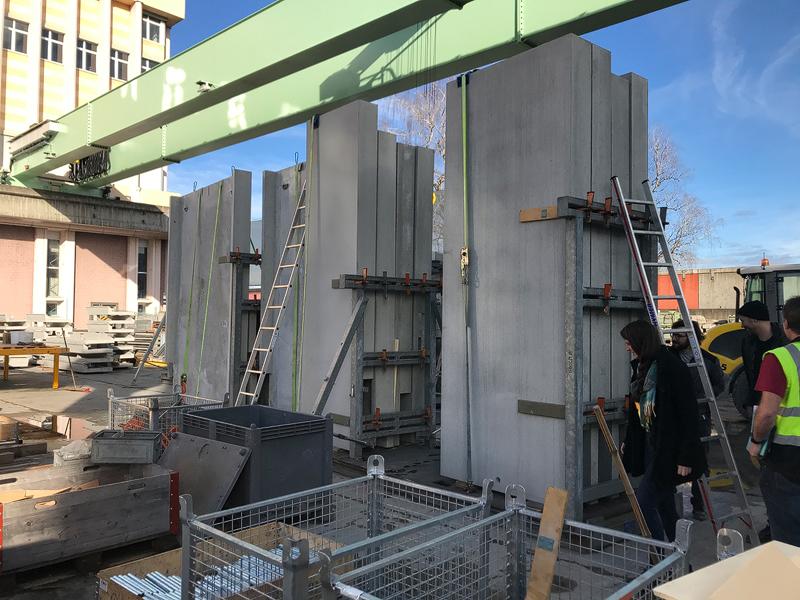 Nimbus Architekten Zürich Michael Bühler Lukas Schaffhuser Werkstattbesuch beim Elementbauer SAW Widnau