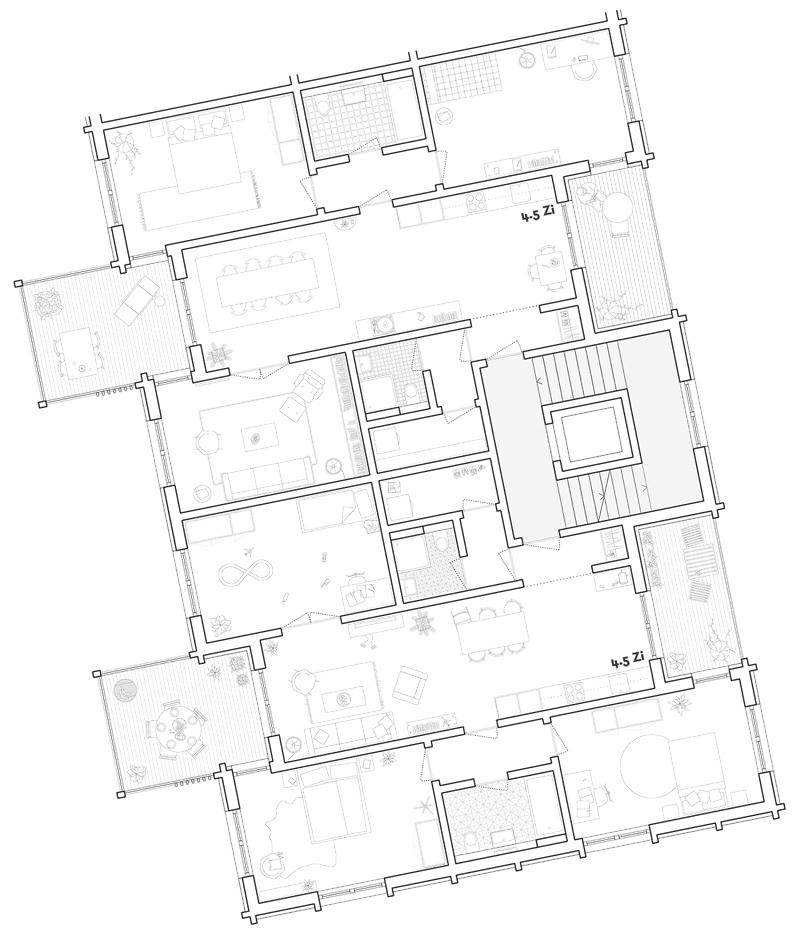 Nimbus Architekten Michael Bühler Lukas Schaffhuser Studienauftrag Schützenmatt Inwil Detail Grundriss Wohnungen Langhaus