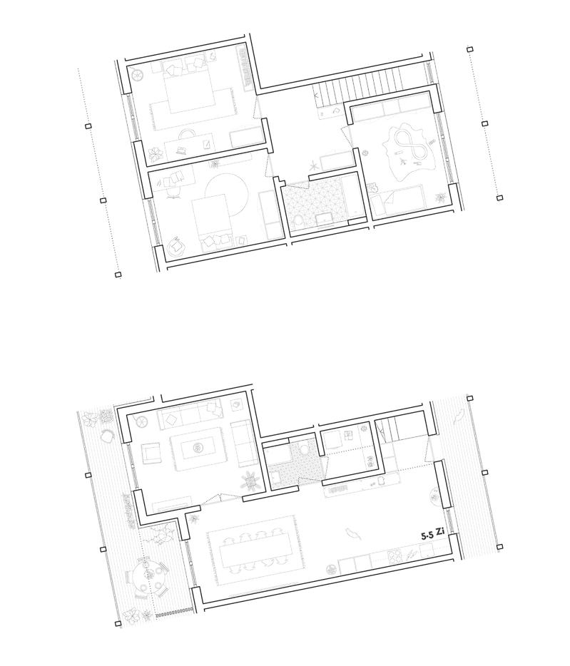 Nimbus Architekten Michael Bühler Lukas Schaffhuser Studienauftrag Schützenmatt Inwil Detail Grundriss Wohnungen Maisonette