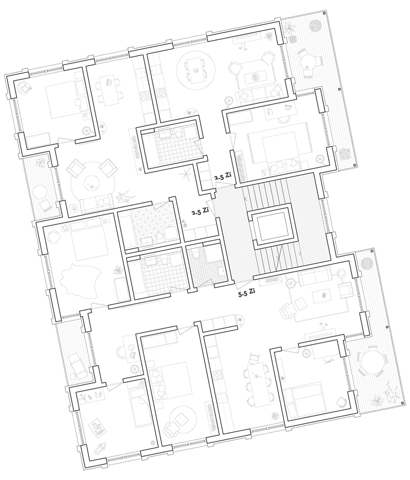 Nimbus Architekten Michael Bühler Lukas Schaffhuser Studienauftrag Schützenmatt Inwil Detail Grundriss Wohnungen Punkthaus