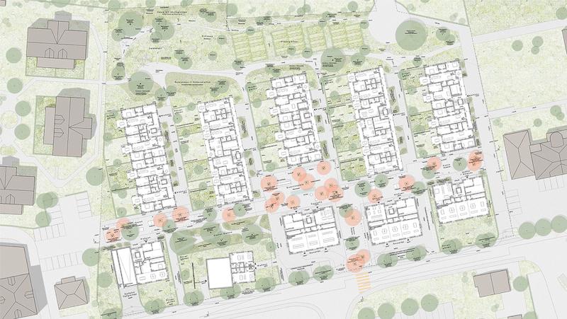 Nimbus Architekten Michael Bühler Lukas Schaffhuser Studienauftrag Schützenmatt Inwil Erdgeschoss und Situation Gärten Gasse Strasse Landschaft
