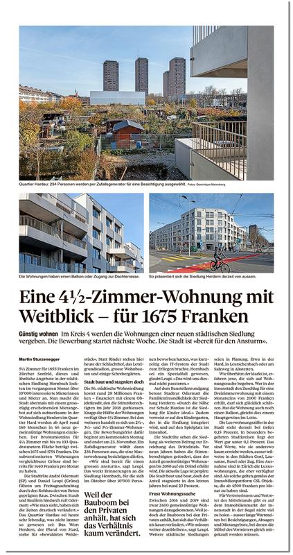 Nimbus Architekten Zürich Michael Bühler Lukas Schaffhuser Wohnsiedlung Herdernstrasse Tages Anzeiger 14.11.2020
