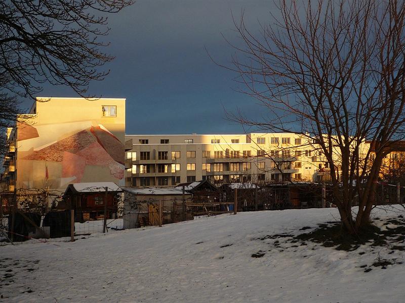 Nimbus Architekten Zürich Michael Bühler Lukas Schaffhuser Impression Wohnsiedlung Herdernstrasse Winter Sonne