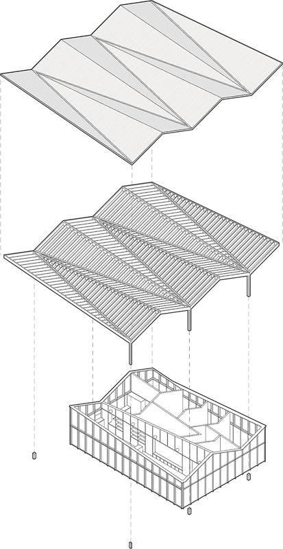 Nimbus Architekten Michael Bühler Lukas Schaffhuser Pavillon im Park Zürich Axonometrie