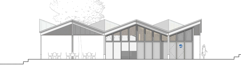 Nimbus Architekten Michael Bühler Lukas Schaffhuser Pavillon im Park Zürich Fassade Süd Ost