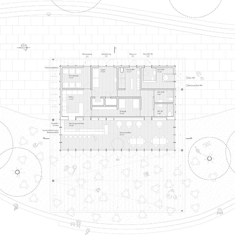 Nimbus Architekten Michael Bühler Lukas Schaffhuser Pavillon im Park Zürich Grundriss